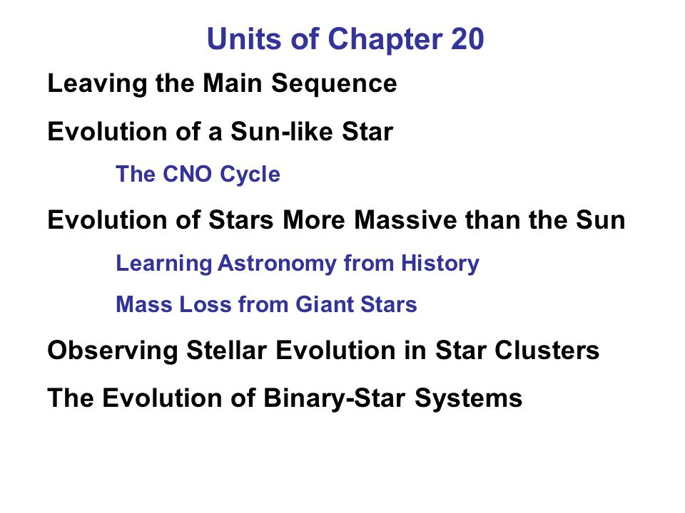 Units of Chapter 20 Leaving the Main Sequence