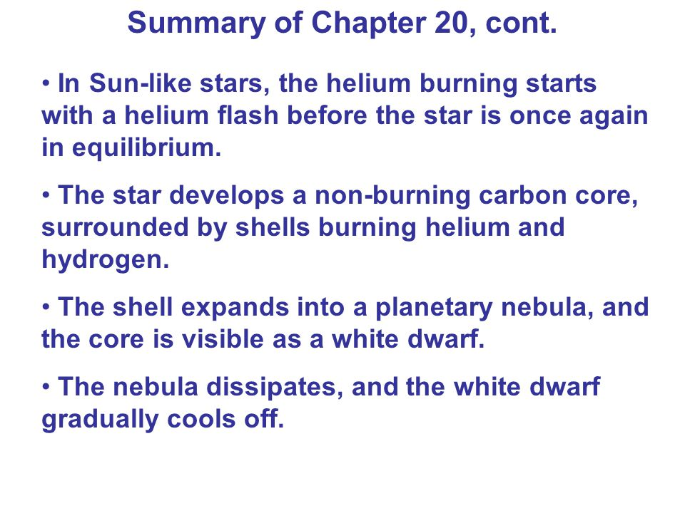 Summary of Chapter 20, cont.