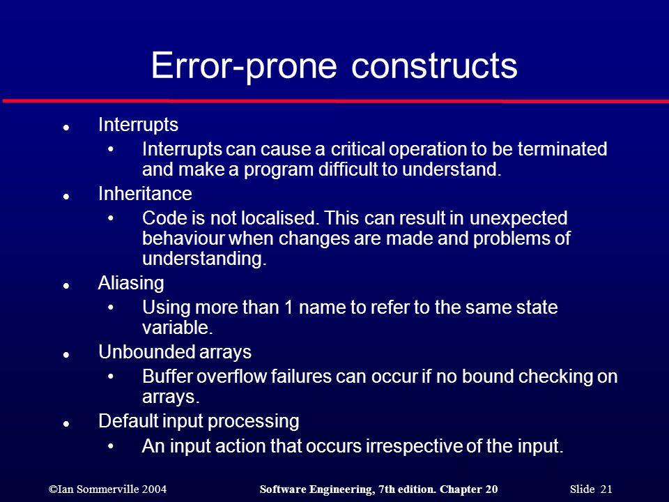 Error-prone constructs