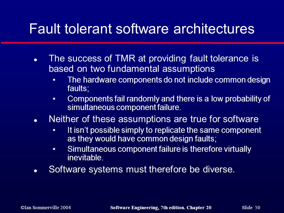 Fault tolerant software architectures