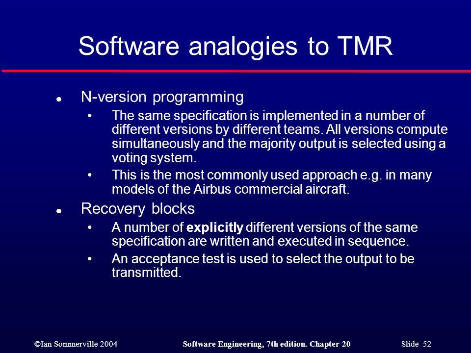 Software analogies to TMR