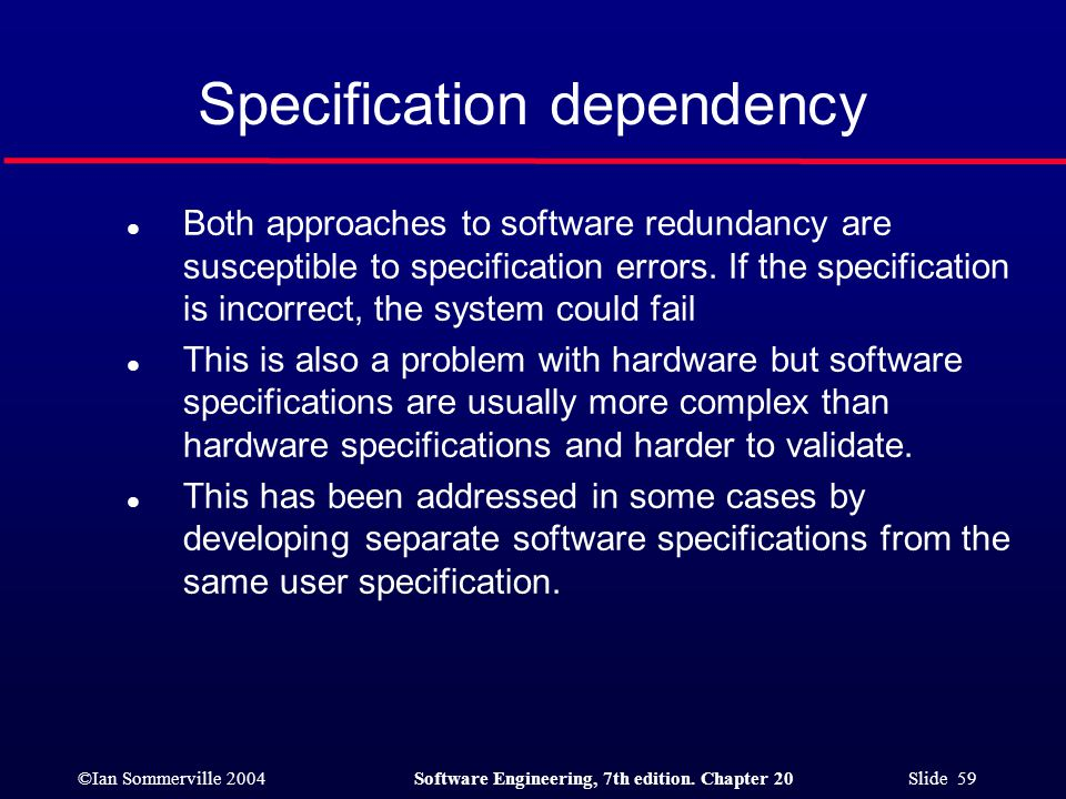 Specification dependency