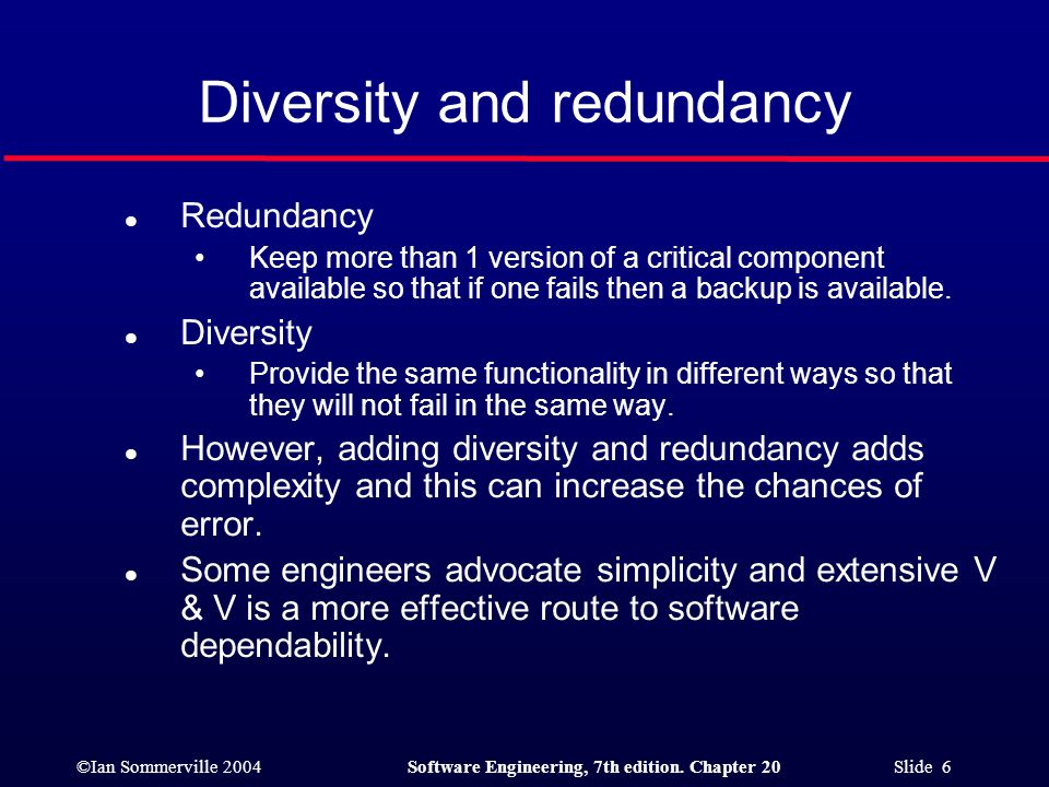 Diversity and redundancy