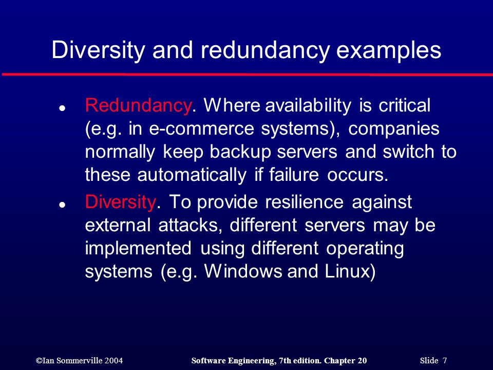 Diversity and redundancy examples