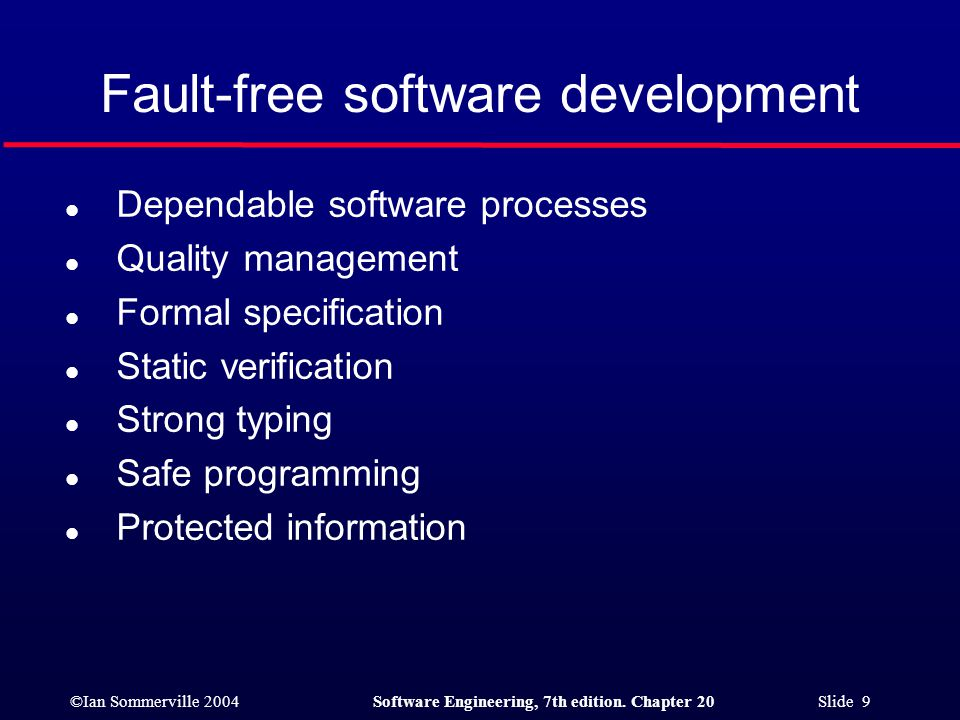 Fault-free software development