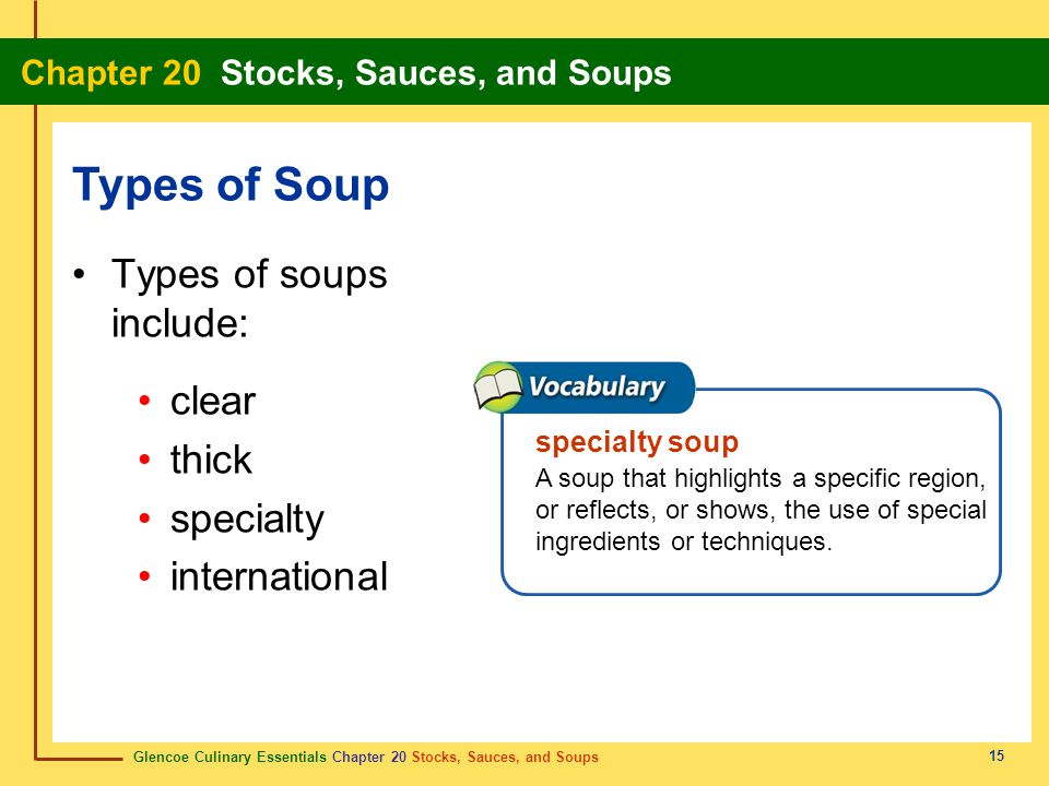Types of Soup Types of soups include: clear thick specialty