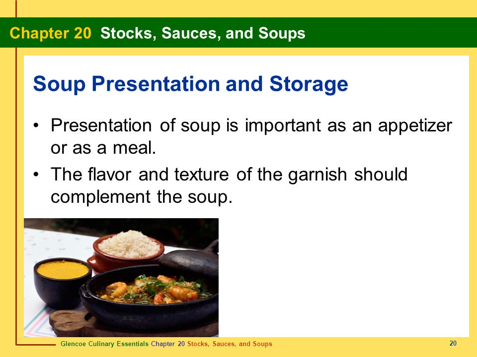 Soup Presentation and Storage