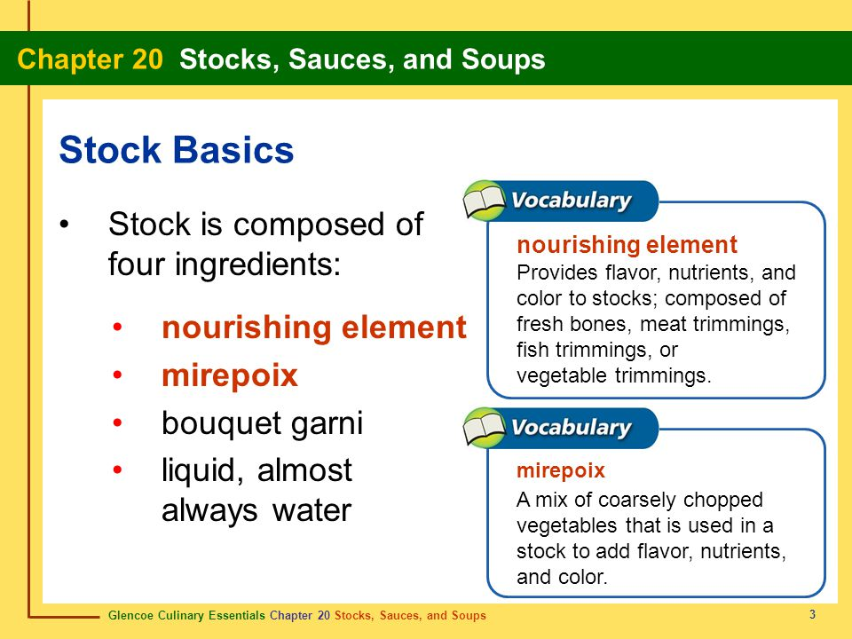 Stock Basics Stock is composed of four ingredients: nourishing element