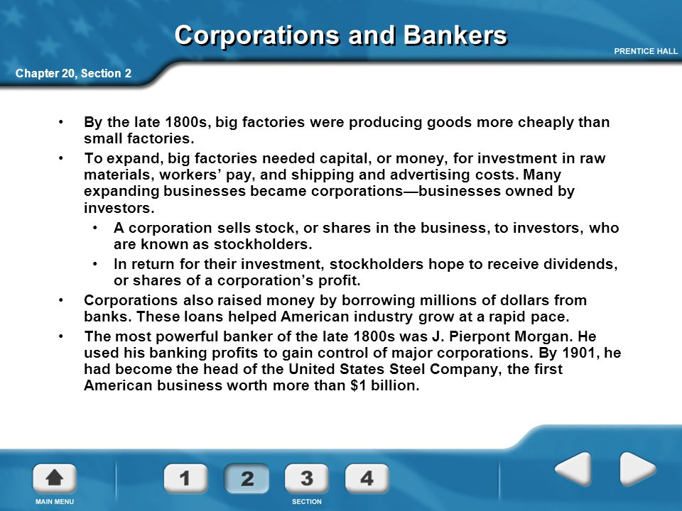 Corporations and Bankers