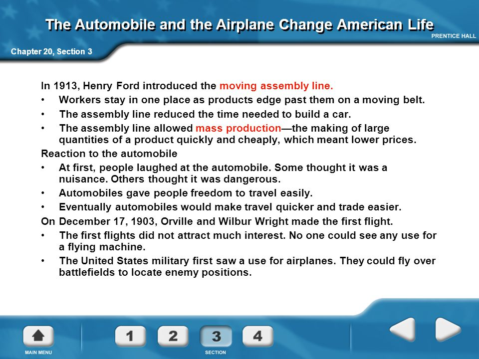 The Automobile and the Airplane Change American Life