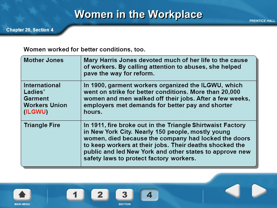 Women in the Workplace Women worked for better conditions, too.