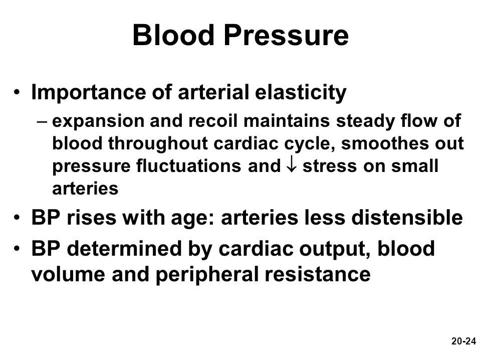 Blood Pressure Importance of arterial elasticity