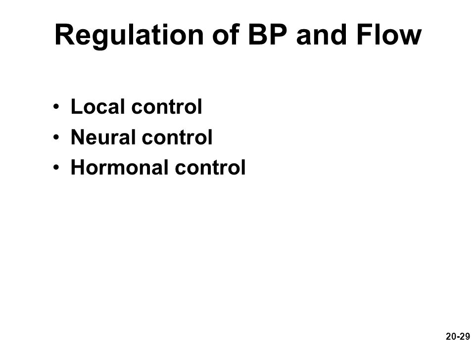 Regulation of BP and Flow