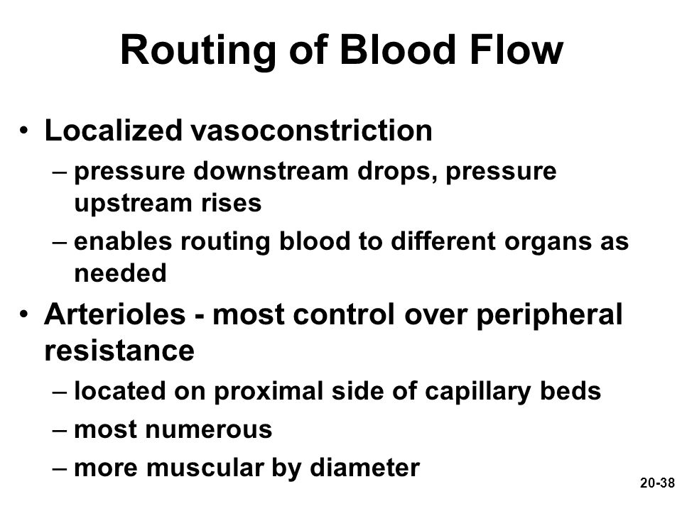 Routing of Blood Flow Localized vasoconstriction