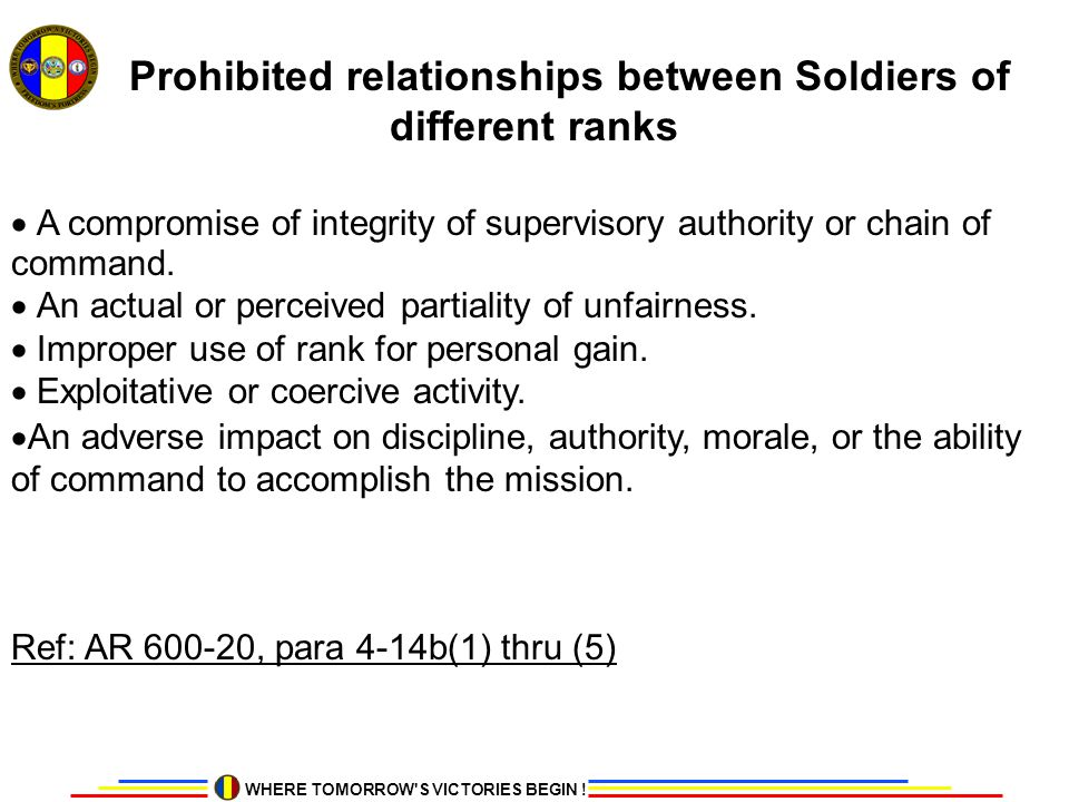 Prohibited relationships between Soldiers of different ranks