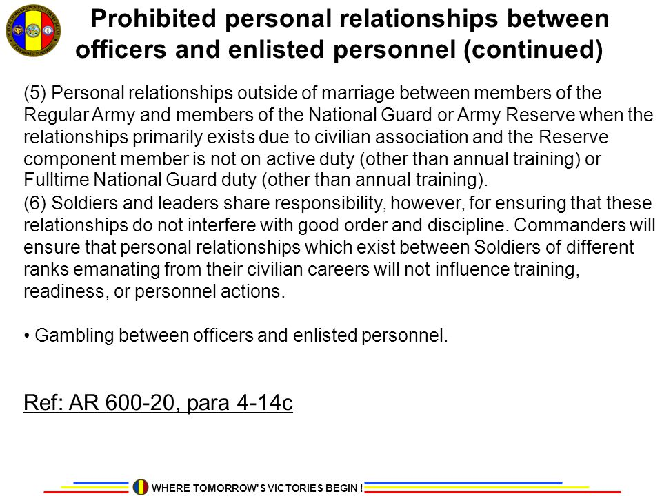 Prohibited personal relationships between officers and enlisted personnel (continued)