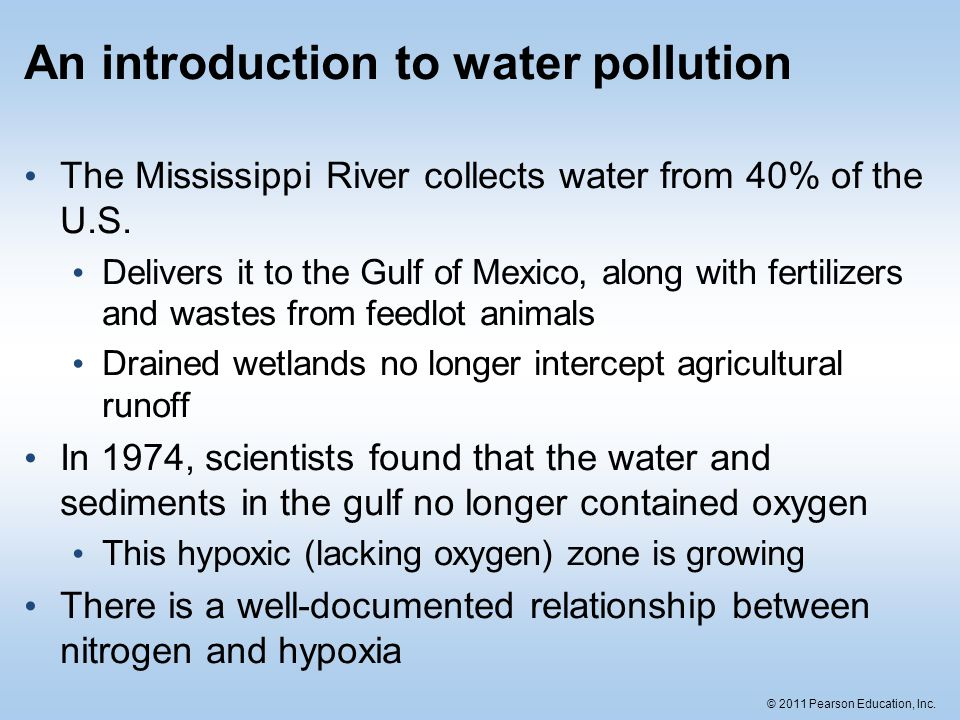 water pollution introduction As with most areas of environmental law, the study of water pollution control is the study of an interlocking web of statutes and their administration.