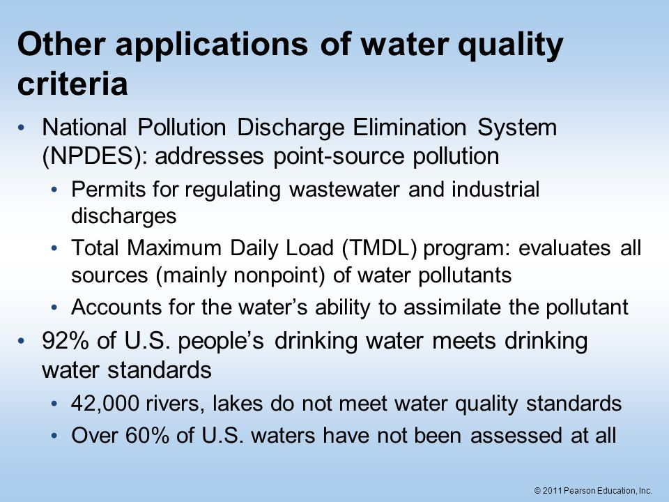 Other applications of water quality criteria