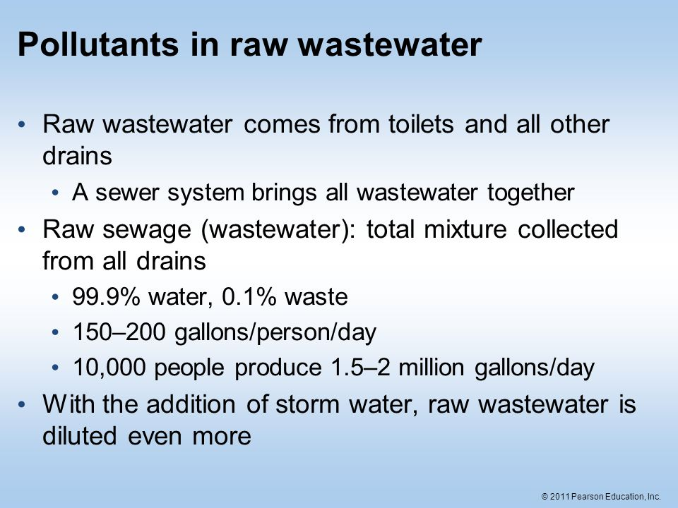Pollutants in raw wastewater