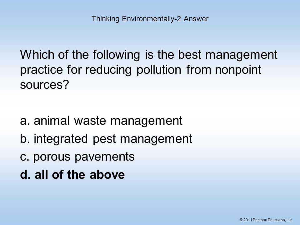 Thinking Environmentally-2 Answer