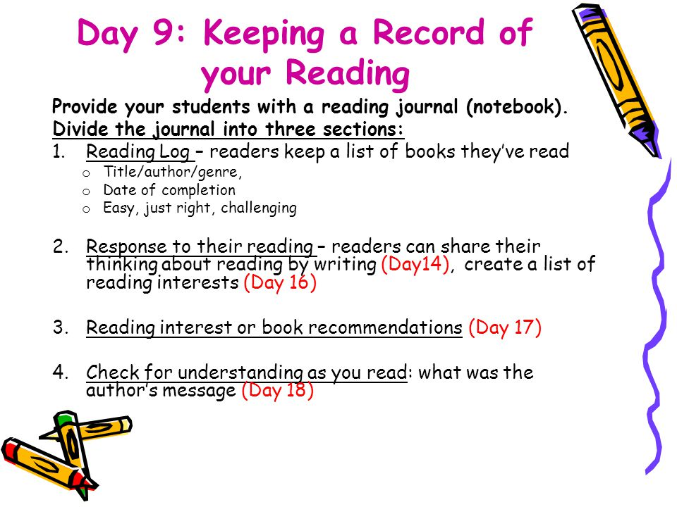 Day 9: Keeping a Record of your Reading