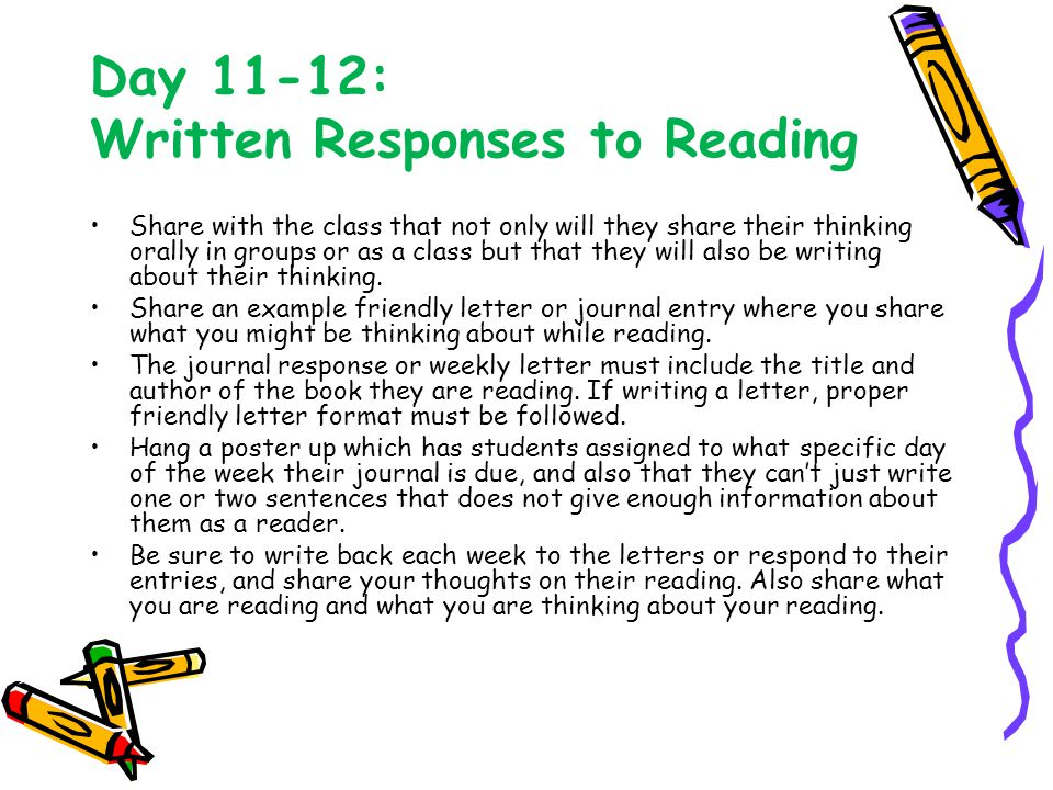 Day 11-12: Written Responses to Reading