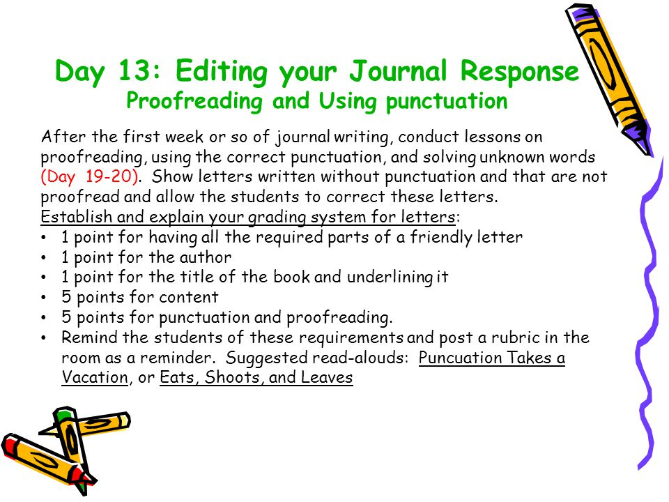 Day 13: Editing your Journal Response Proofreading and Using punctuation