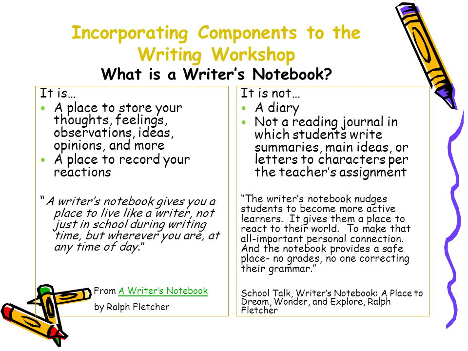 Incorporating Components to the Writing Workshop What is a Writer's Notebook