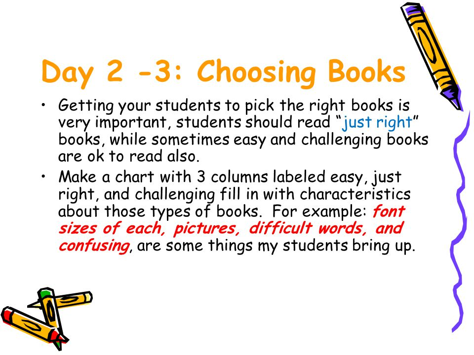 Day 2 -3: Choosing Books