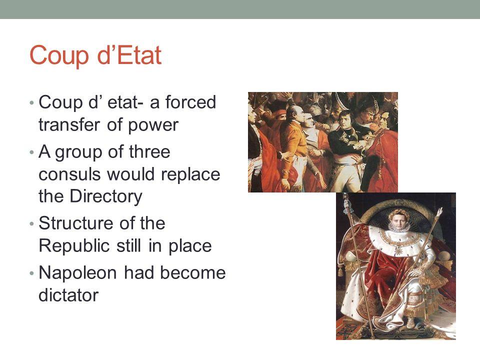 Coup d'Etat Coup d' etat- a forced transfer of power