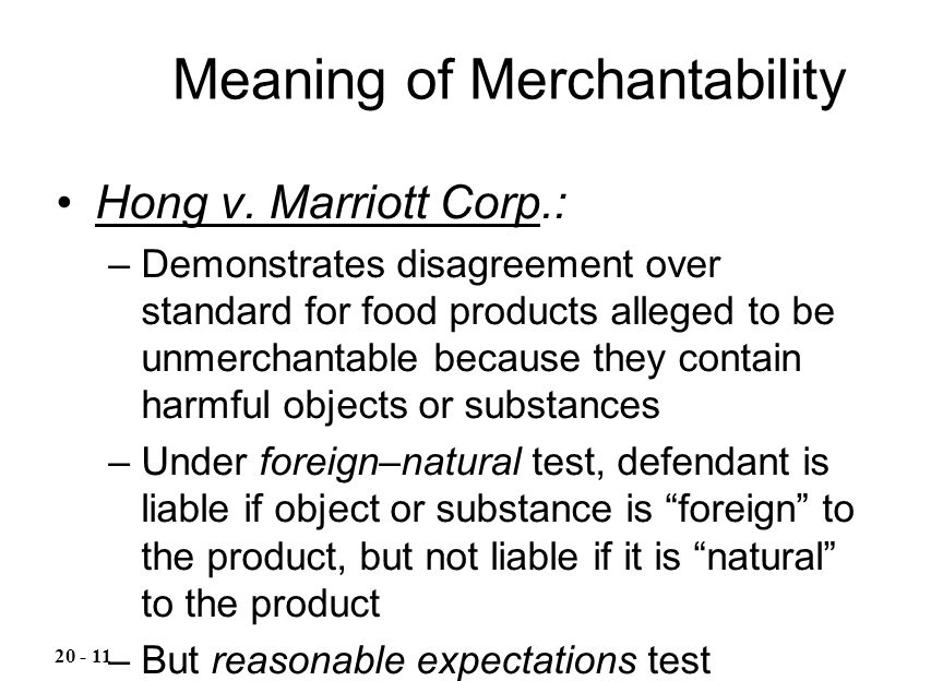 Meaning of Merchantability