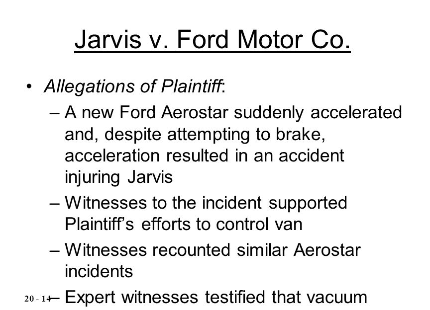 Jarvis v. Ford Motor Co. Allegations of Plaintiff: