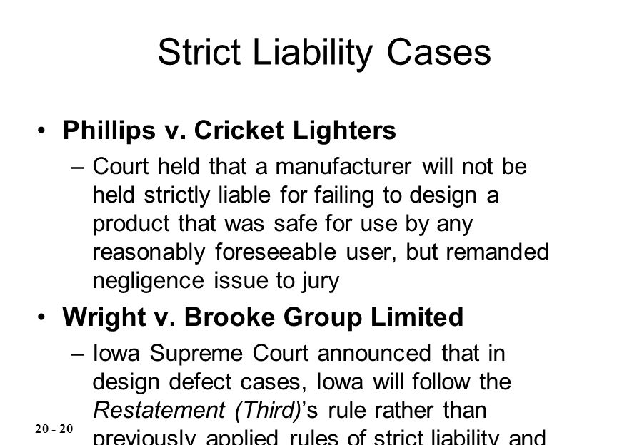 Strict Liability Cases