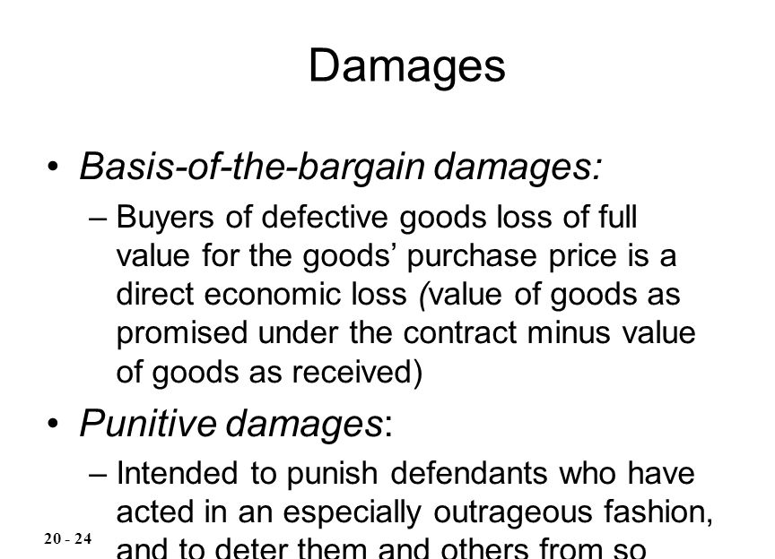 Damages Basis-of-the-bargain damages: Punitive damages: