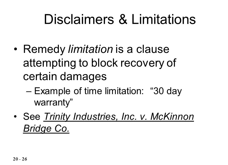 Disclaimers & Limitations