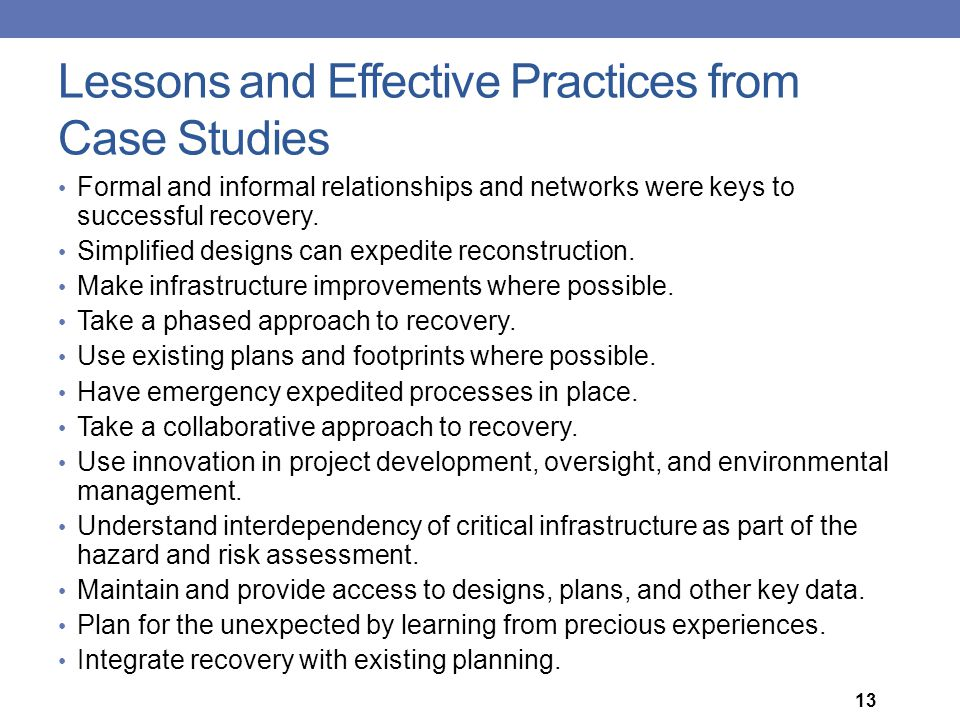 Lessons and Effective Practices from Case Studies