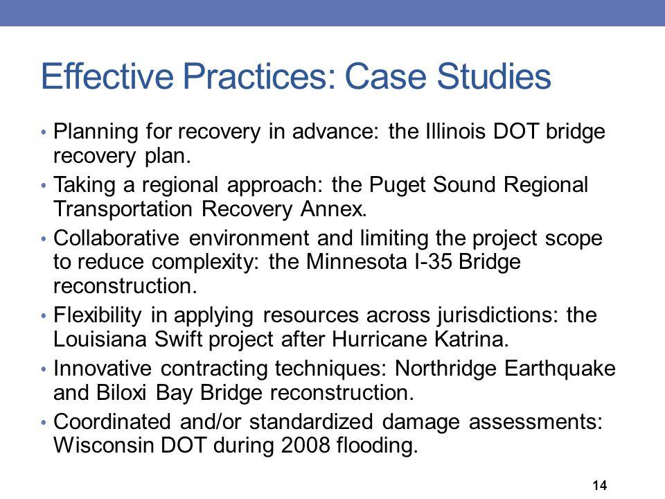 Effective Practices: Case Studies