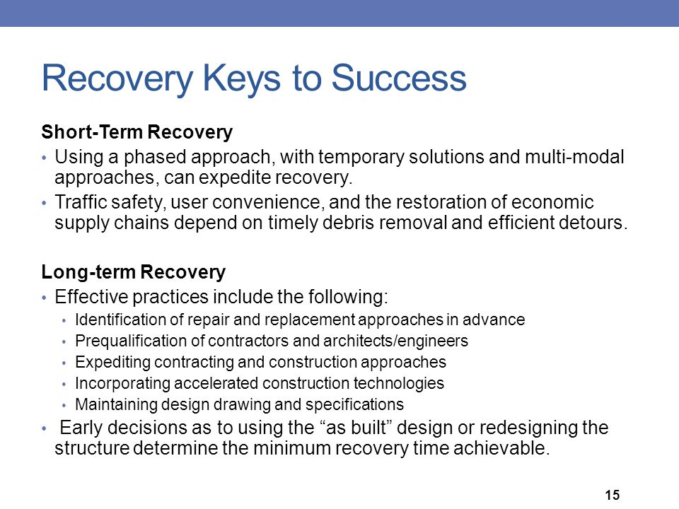 Recovery Keys to Success