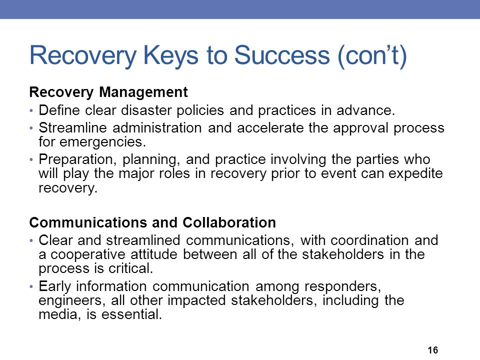 Recovery Keys to Success (con't)