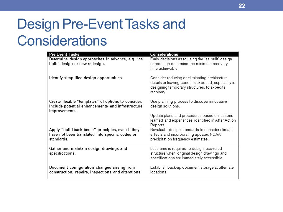 Design Pre-Event Tasks and Considerations
