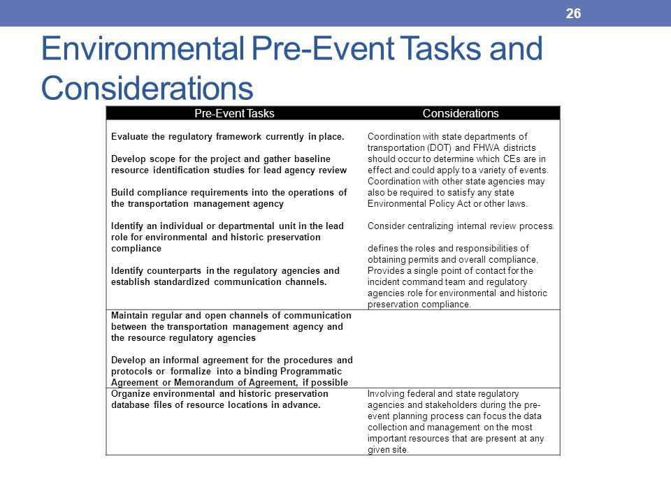 Environmental Pre-Event Tasks and Considerations