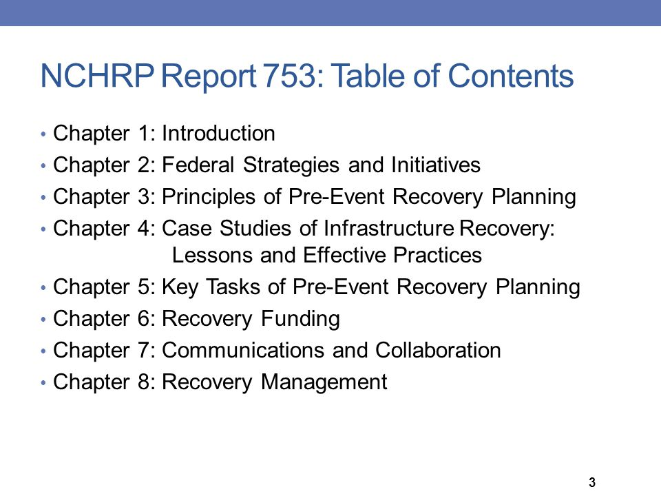 NCHRP Report 753: Table of Contents