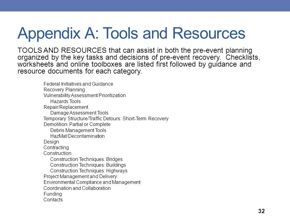 Appendix A: Tools and Resources