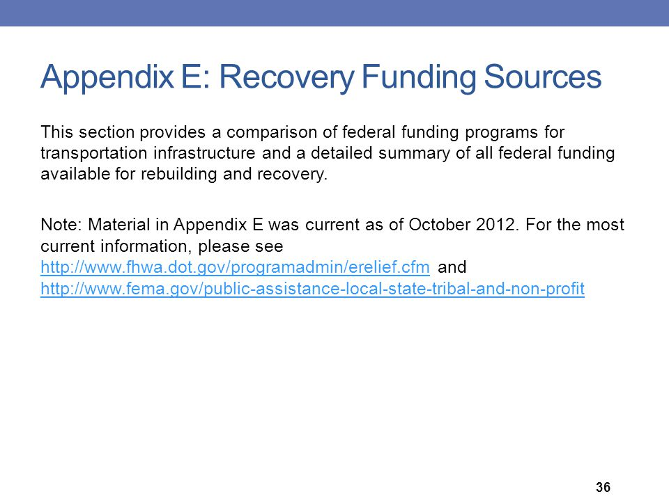 Appendix E: Recovery Funding Sources