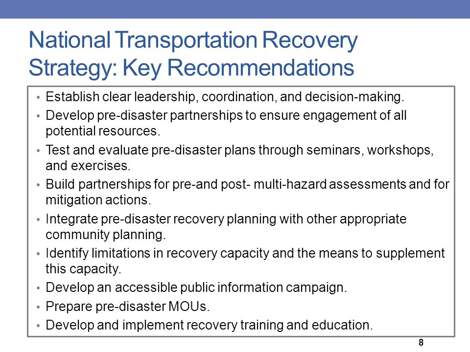 National Transportation Recovery Strategy: Key Recommendations
