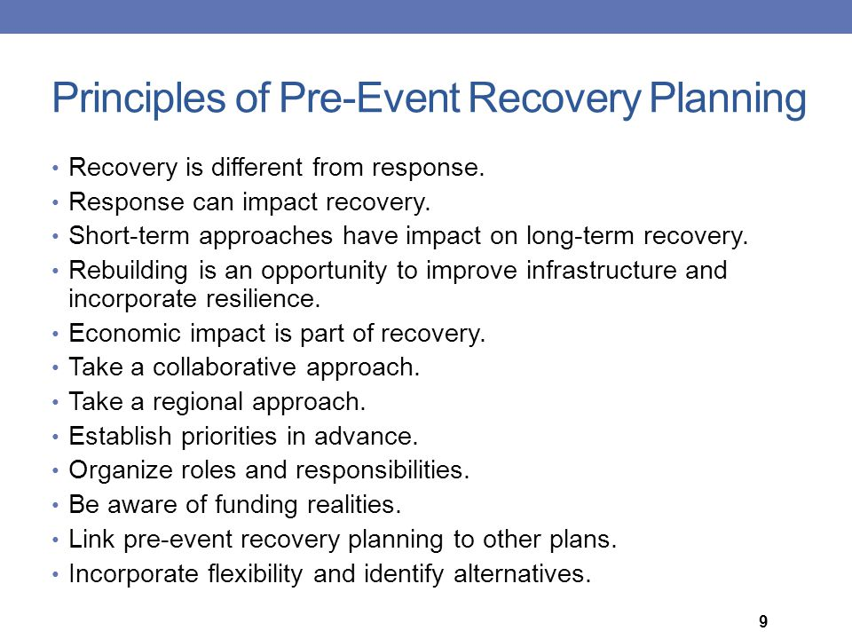 Principles of Pre-Event Recovery Planning