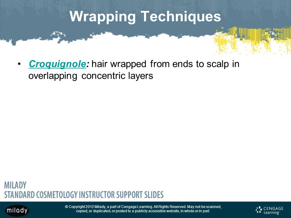 Wrapping Techniques Croquignole: hair wrapped from ends to scalp in overlapping concentric layers