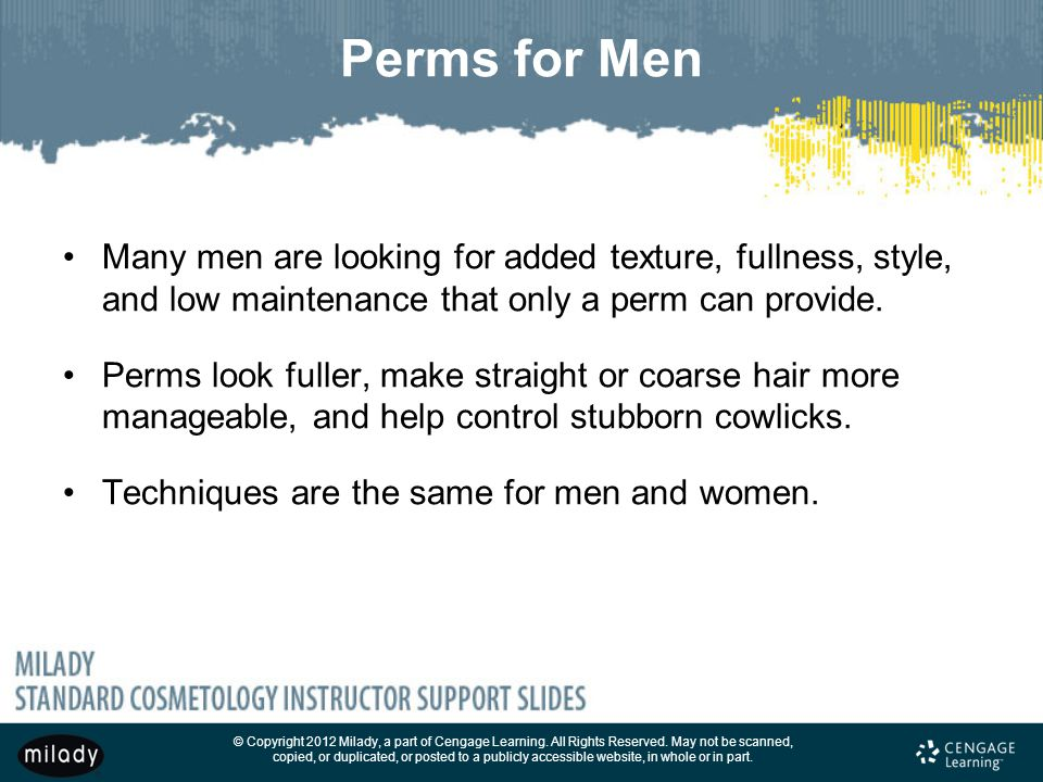 Perms for Men Many men are looking for added texture, fullness, style, and low maintenance that only a perm can provide.