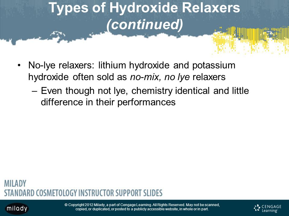 Types of Hydroxide Relaxers (continued)