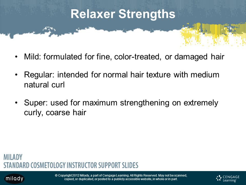 Relaxer Strengths Mild: formulated for fine, color-treated, or damaged hair. Regular: intended for normal hair texture with medium natural curl.